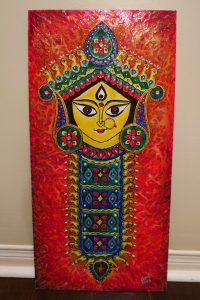 Durga Idol Art Glass Paint 1
