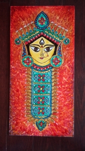 Durga Idol Art Glass Paint 10