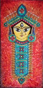 Durga Idol Art Glass Paint 12