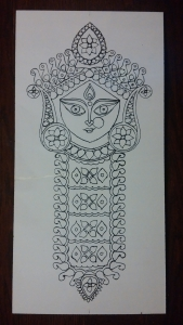 Durga Idol Art Glass Paint 3