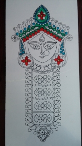 Durga Idol Art Glass Paint 4